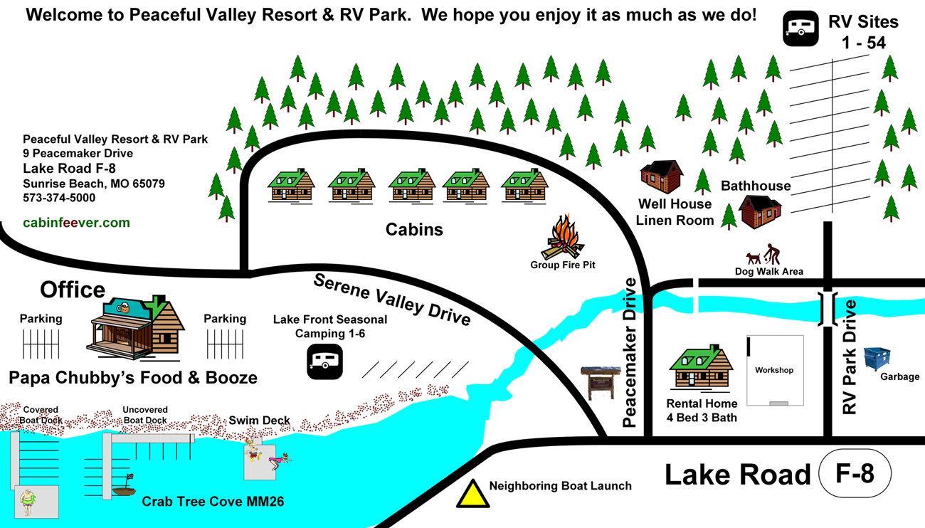 Peaceful Valley Resort & RV Park Map